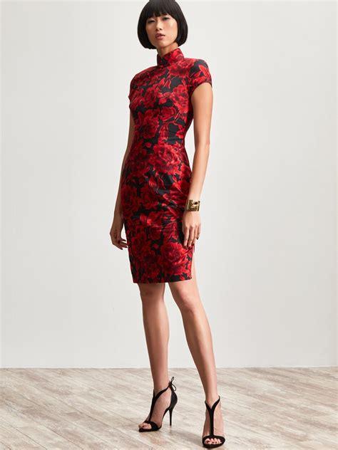 Dress Fashion Dr8962 Bta 2 peony print cotton stretch qipao dress