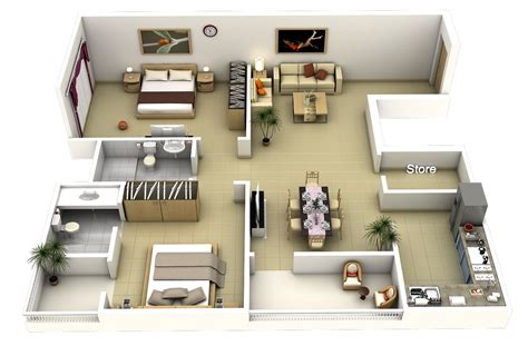 flat plan 2 bedroom apartment house plans