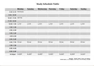 study templates free study and school attendance schedule templates word