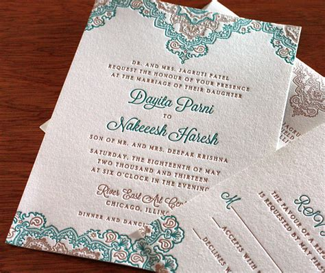 wedding invitations teal and copper fall indian wedding colors copper and teal letterpress
