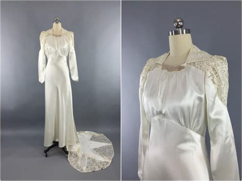 Wedding Dresses Vintage 40 S by Vintage 1940s Wedding Dress Satin 40s Bias Cut
