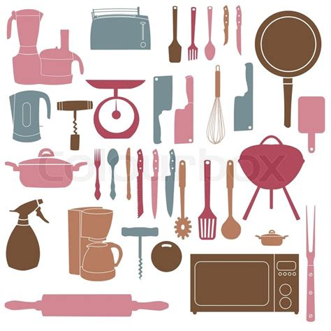 Vector illustration of kitchen tools for cooking   Stock