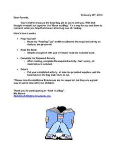 book in a bag parent letter