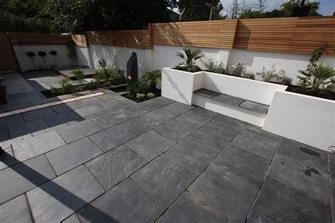 Black And Blue Patio by Blue Black Slate Paving In A Garden