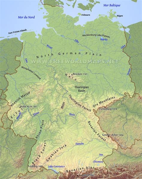 gebirgskarte deutschland germany physical map