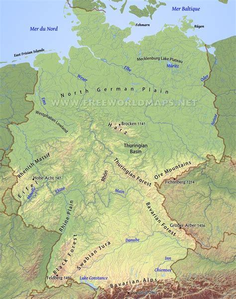 gebirgskarte deutschland germany physical map