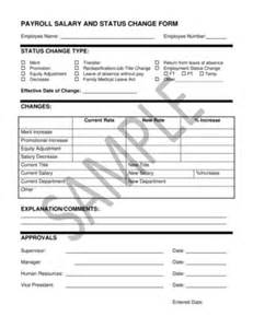payroll change notice form template fillable payroll salary and status change form hr