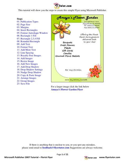 design a flyer with publisher microsoft publisher 2007 tutorials florist flyer