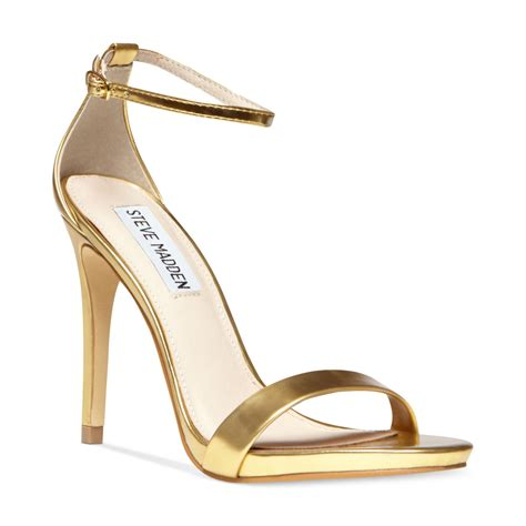 gold heels sandals lyst steve madden stecy two sandals in metallic