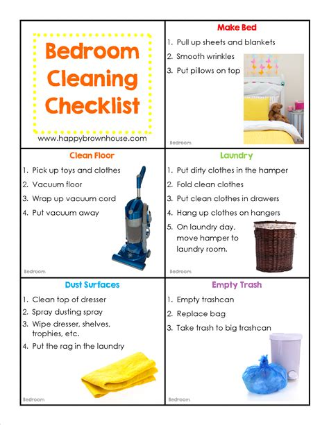 Set Excel Kid By Z Shop editable cleaning chore cards for happy brown house
