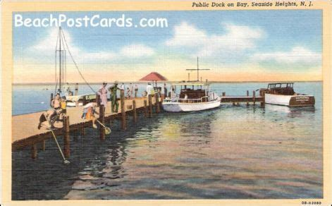 boat dock height boat docked on the bay seaside heights nj ca 1940s