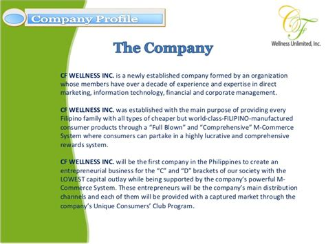 distributor profile template cf wellness company profile presentation
