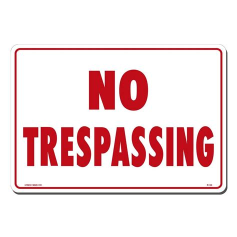 lynch sign 14 in x 10 in on white plastic no trespassing sign r 54 the home depot