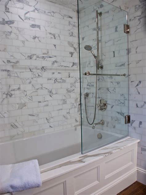 bathtub with glass drop in tub glass shower partition transitional