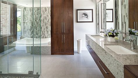 Modern Master Bathroom Remodel Ideas Glass Mosaics Contribute To Luxurious Master Bath Design