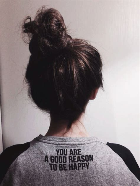 keeping hair your neck when it is messy bun fashion style quote happy hair shirt