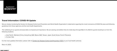 marriott coronavirus covid  reservation cancellation