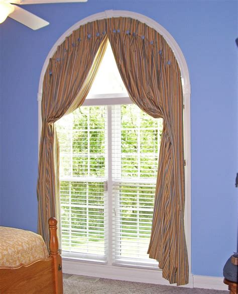 arched window drapes brown cream vertical stripped curtains for large glass