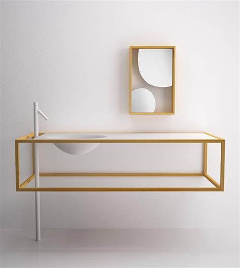minimal furniture design minimalist bathroom furniture in larch wood by bisazza bagno nendo