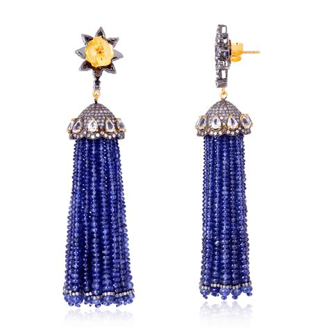 Tassel Earring In Silver gemstone pave tassel earrings 18kt gold sterling