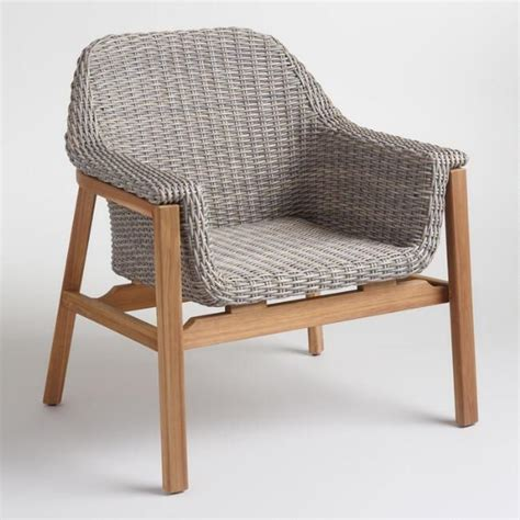 contemporary armchair boasts gray weather resistant