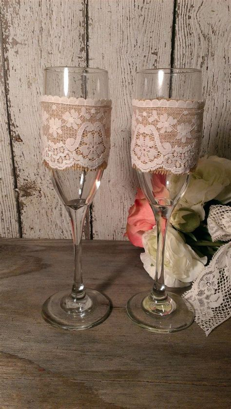 Personalized rustic wedding glasses, Mr and Mrs toasting