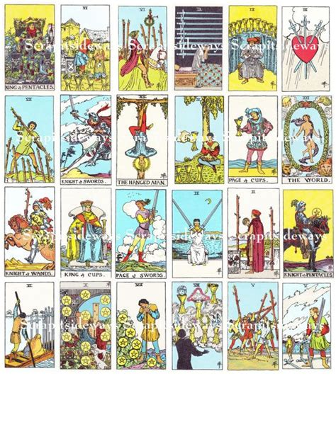 Tarot Card Digital Template by Set Of 78 Rider Waite Tarot Cards Digital Collage Sheet