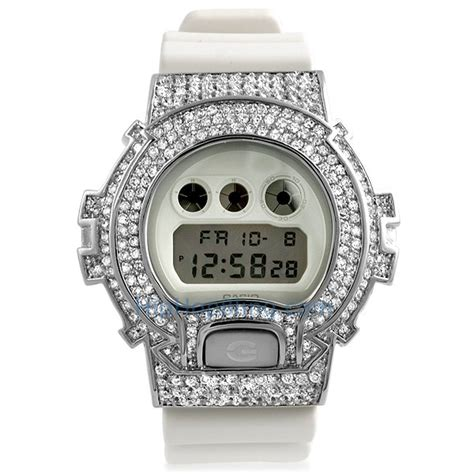 all white cz custom g shock bling custom g shock