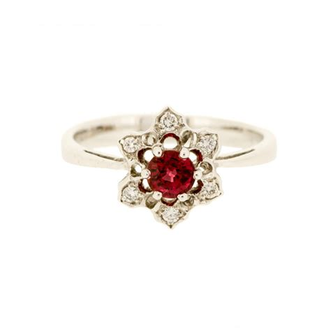 colour treated ruby cluster ring