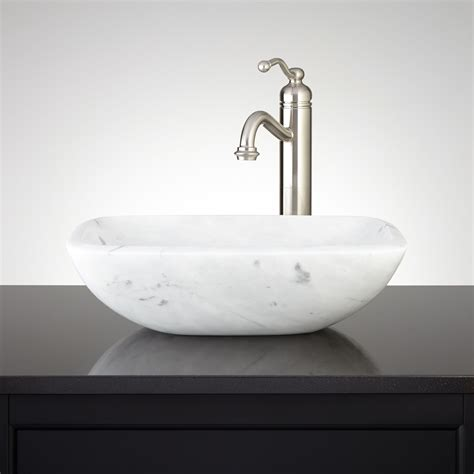 Vesel Sink by Curved Rectangle Angle Carrara Marble Vessel Sink