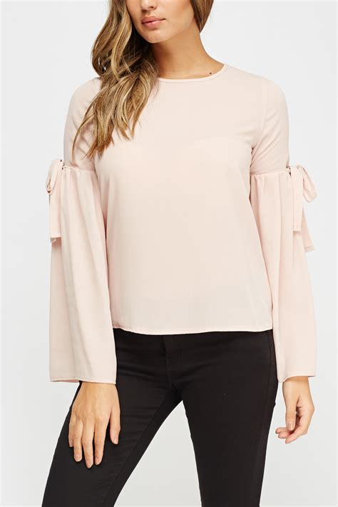 light pink sleeve top flare sleeve light pink top just 163 5