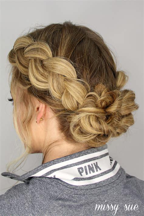 cornrows and loose bun dutch braids and messy buns