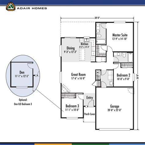adair home floor plans adair homes plan 1405 128 645 arcadia east would need