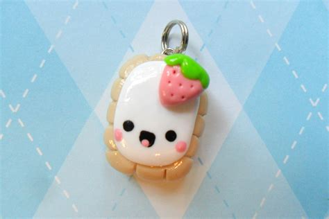Toaster Pink Kawaii Toaster Pastry Charm Polymer Clay Strawberry By