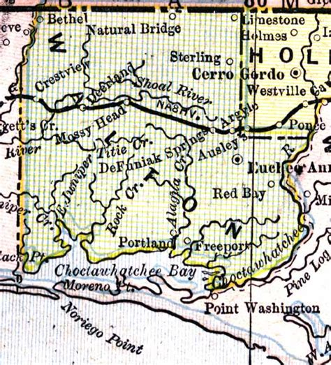 walton county florida map map of walton county florida 1890