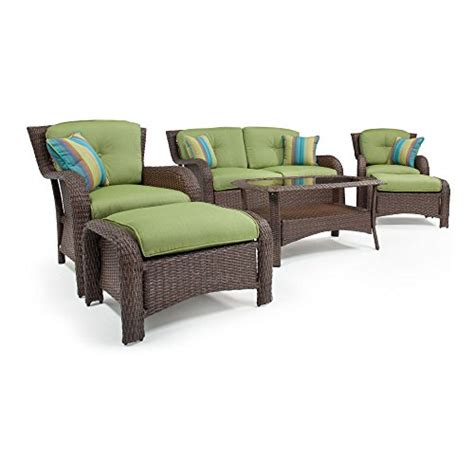 Outdoor Material For Patio Furniture La Z Boy Outdoor Sawyer 6 Resin Wicker Patio Furniture Conversation Set Cilantro Green