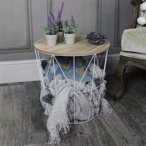 wire basket side table white metal wire basket wooden top side table melody maison 174
