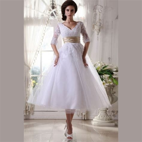 Length Wedding Dress by Popular Lace Tea Length Wedding Dress Buy Cheap Lace Tea