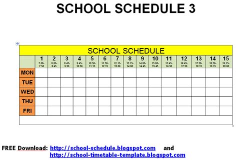 schedule for school template spice jar labels and templates to print free school