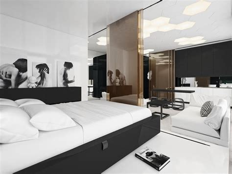studio z home design czarno bia蛯y pok 243 j dzienny otwarty na sypialni苹