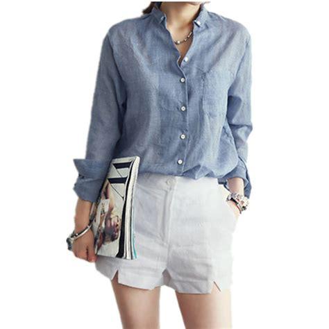 Putih Bordir List White Embroidery Fr5731 katun linen kemeja blus musim gugur baru wanita blus putih abu abu biru denim panjang