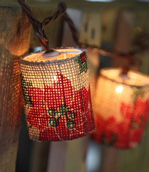 Poinsettia Design Burlap Patio String Lights 10 Lights Poinsettia String Lights