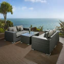luxury outdoor garden 2 x 2 seater sofa set black rattan