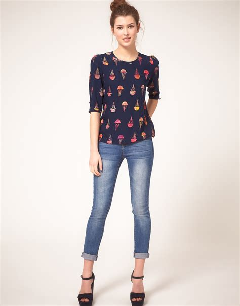 Loliy Blues Blouse lyst sugarhill boutique blouse in lolly print in blue