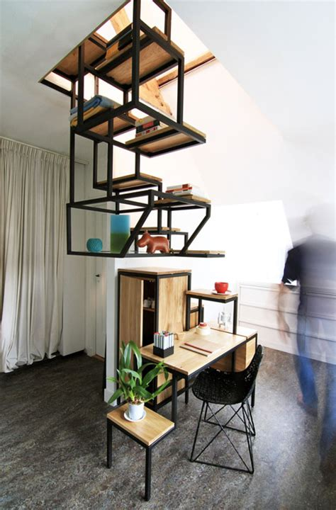 Meja Arsitek a suspended staircase that doubles as an innovative work space designtaxi
