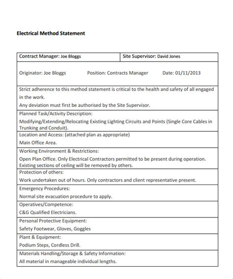 electrical installation method statement template free sle method statement template 8 documents in pdf