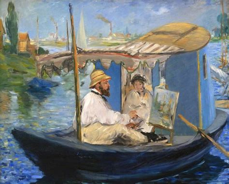 manet monet in his studio boat 201 douard manet quot monet painting on his studio boat quot artxart