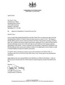 pa dept of ed validation letter of harrisburg recovery plan