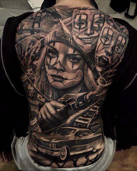 clown sleeve tattoo designs clown crime back best design ideas