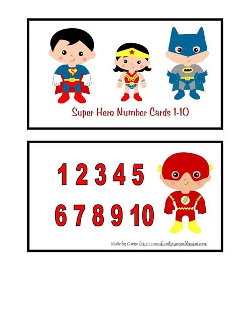 printable superhero number cards 1000 images about super hero theme on pinterest
